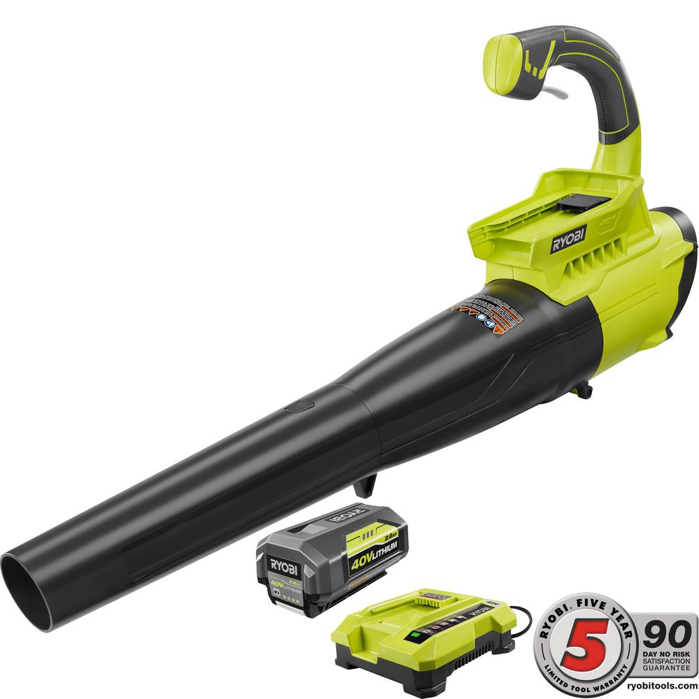 Ryobi 155 MPH 300 CFM 40-Volt Lithium-Ion Cordless Jet Fan Blower - 2.6 Ah Battery and Charger Included