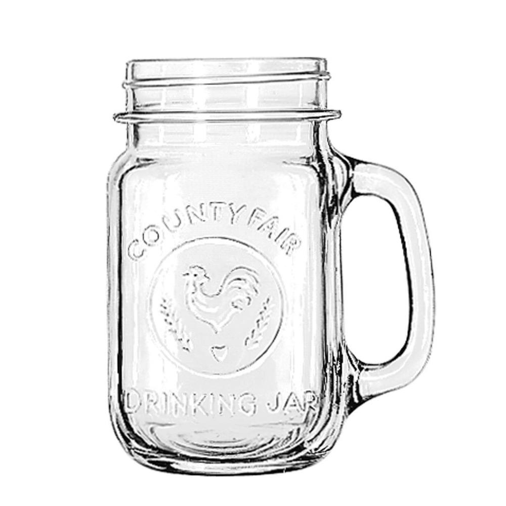Libbey County Fair 16-1/2 oz. Drinking Jar with Handle (Set of 12)