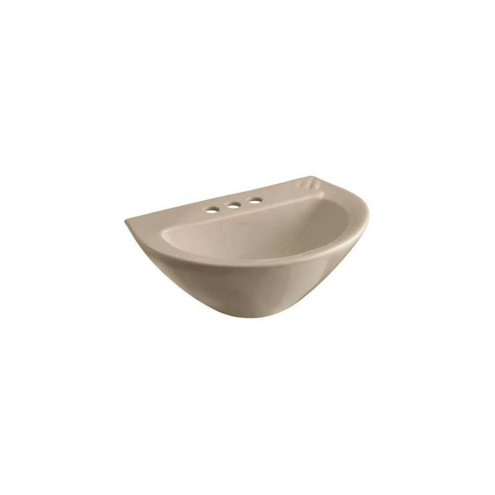 KOHLER Parigi 3-1/2 in. Pedestal Sink Basin in Mexican Sand-DISCONTINUED