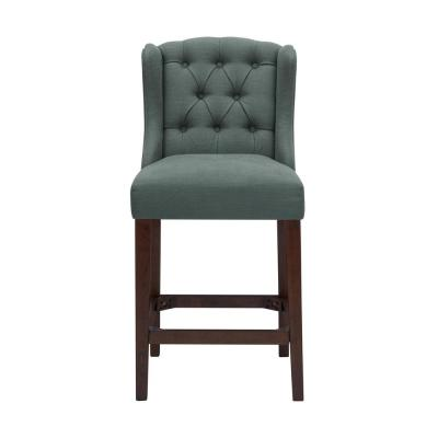 Belcrest Sable Brown Wood Upholstered Counter Stool with Back and Charleston Teal Seat (20.08 in. W x 40.16 in. H)