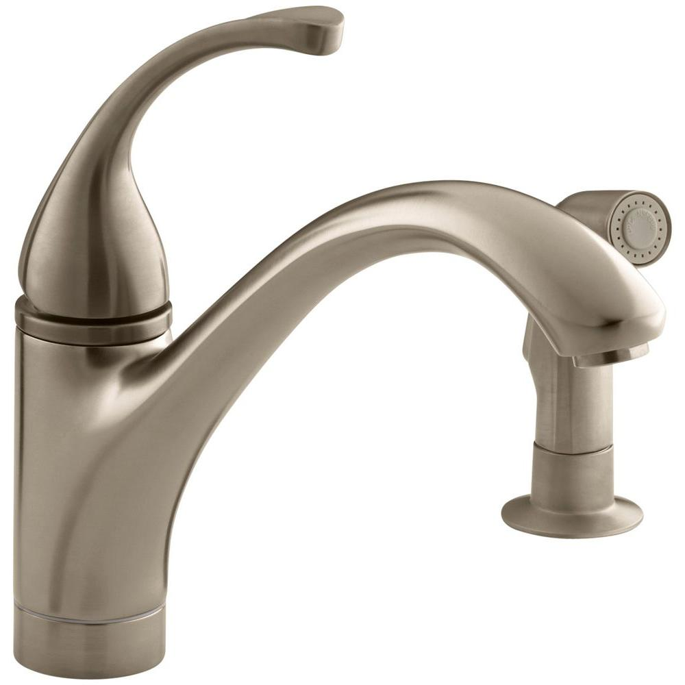 Kohler Forte Single Handle Standard Kitchen Faucet With Side Sprayer In Vibrant Brushed Bronze