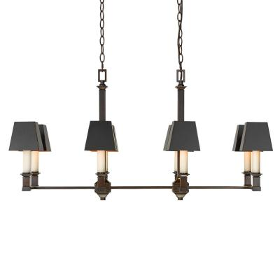 Bradley 8-Light Cordoban Bronze Pendant with Black Metal Shades
