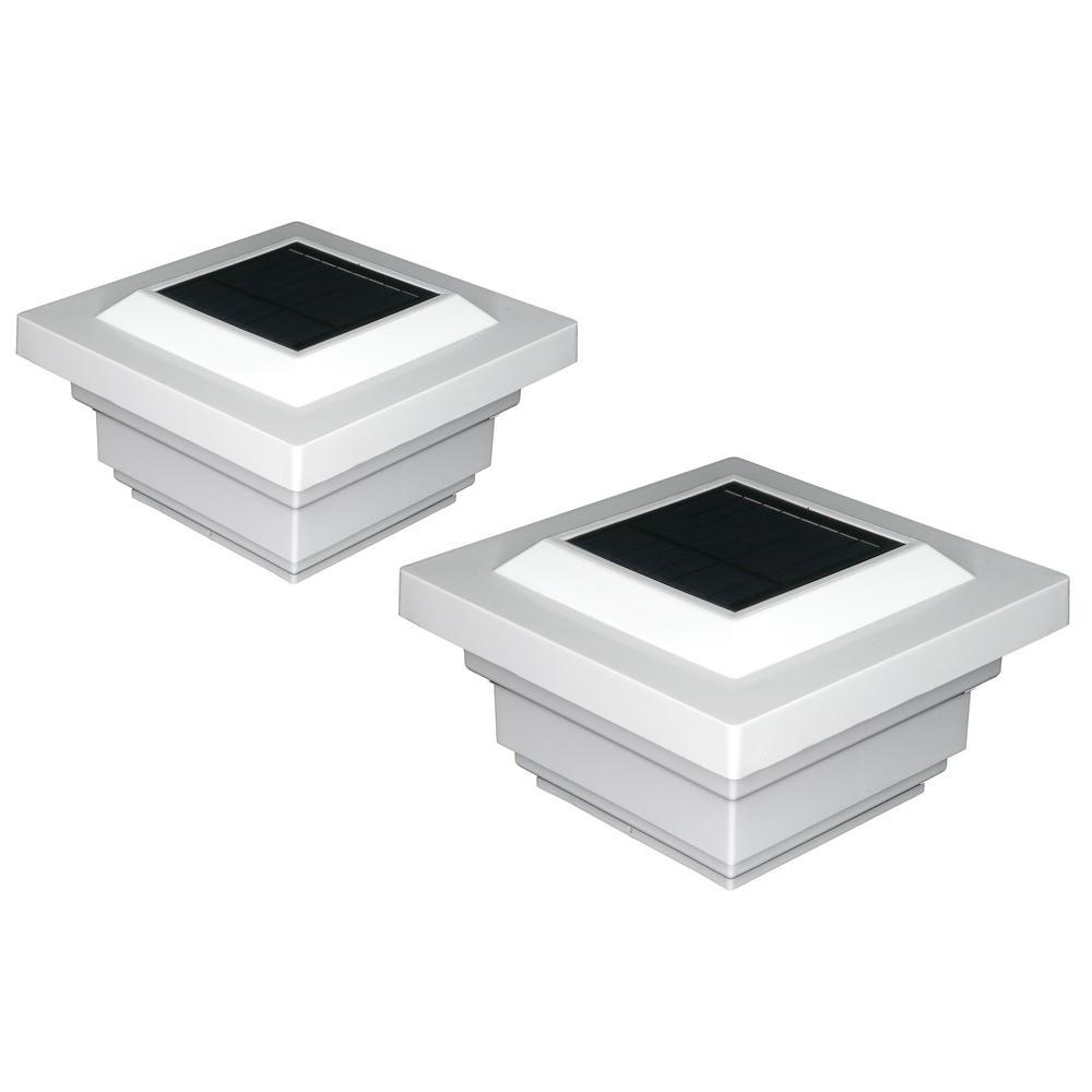 Regal 4 in. x 4 in. Outdoor White Vinyl LED Solar Post Cap (2-Pack)
