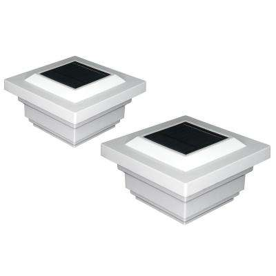 Regal 4 in. x 4 in. Outdoor White Vinyl LED Solar Post Cap (2-Pack)
