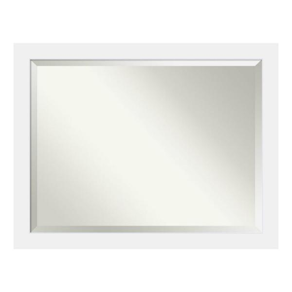 Corvino Satin White Wood 45 in. W x 35 in. H Single Contemporary Bathroom Vanity Mirror