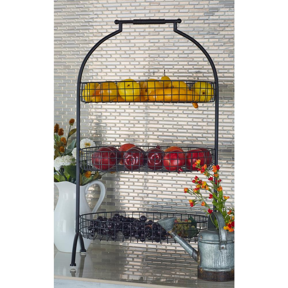3-Tiered Square-Woven Metal Oval Basket Trays with Dome Frame