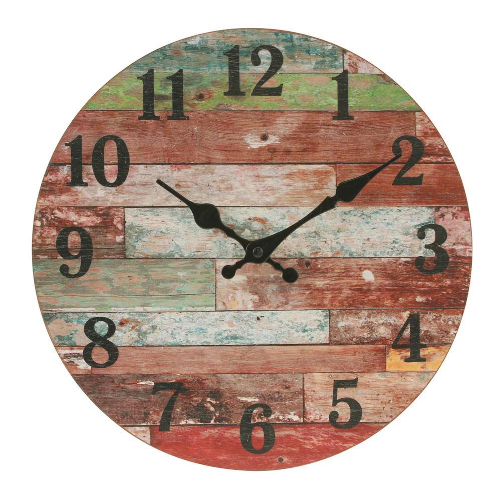 Stonebriar Collection Farmhouse Worn Wood Wall Clock Sb 6149a The