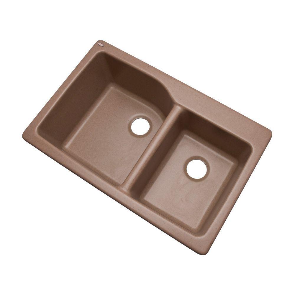 Grande Drop-In Composite Granite 34 in. Double Bowl Kitchen Sink in Natural