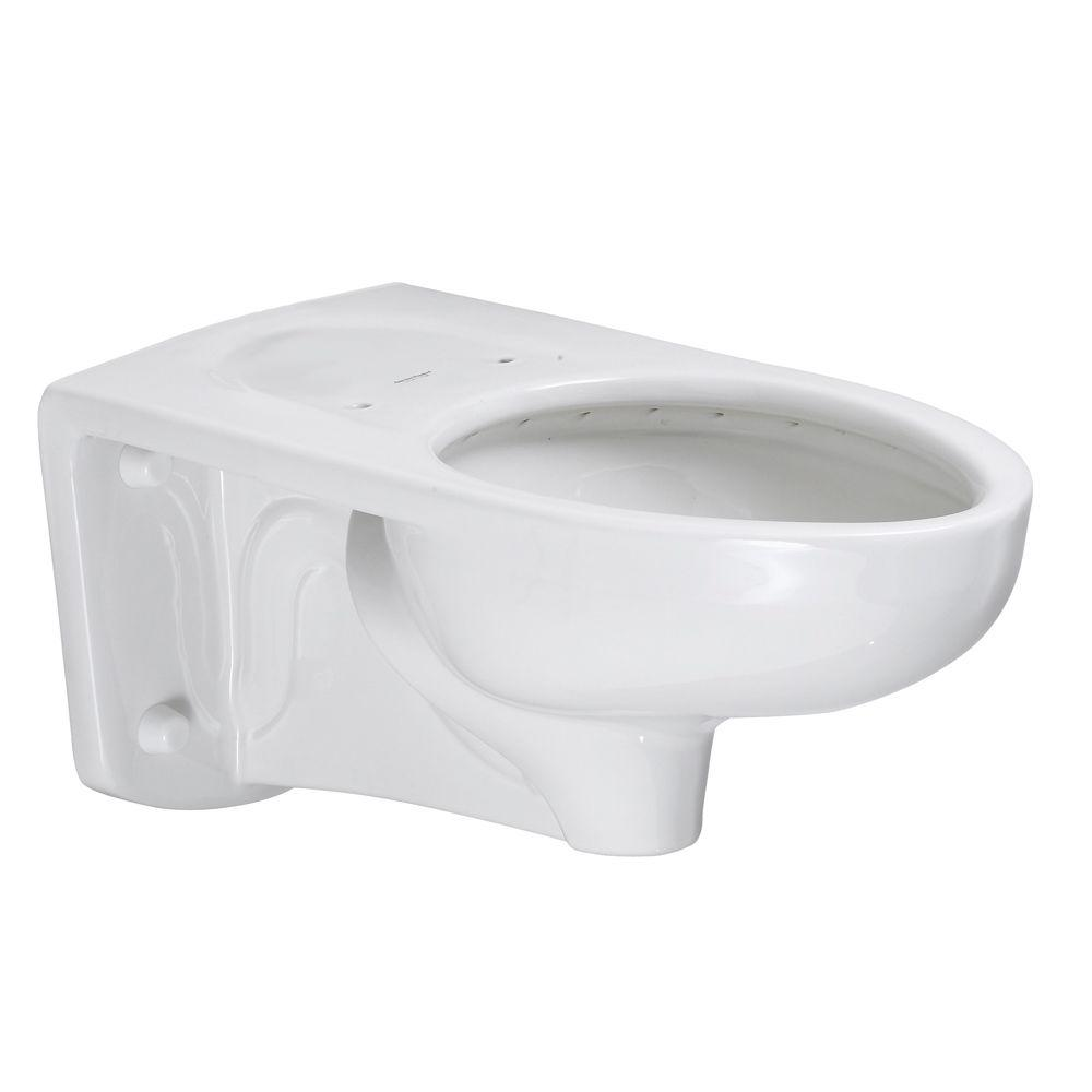 American Standard Afwall FloWise EverClean Back Spud Slotted Rim Elongated Flush Valve Toilet Bowl Only in White