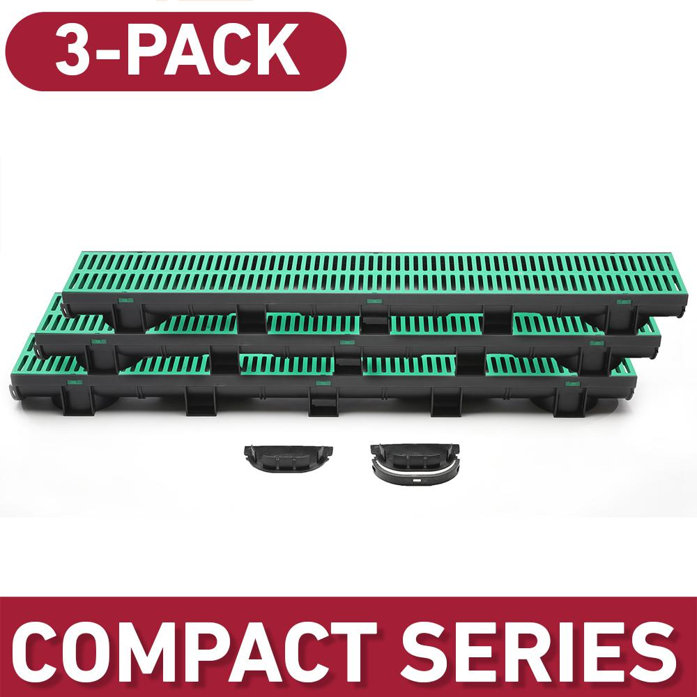 U.S. TRENCH DRAIN Compact Series 5.4 in. W x 3.2 in. D x 39.4 in. L Trench and Channel Drain Kit w/ Green Grate (3-PK : 9.8 ft), Black/Green was $86.6 now $56.99 (34.0% off)