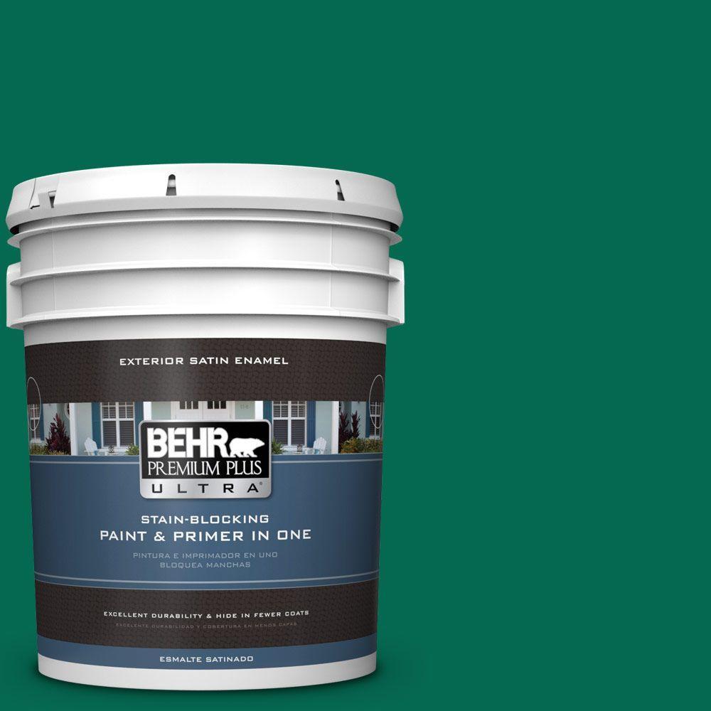 BEHR Premium Plus Ultra 5-gal. #480B-7 Clover Brook Satin Enamel Exterior Paint