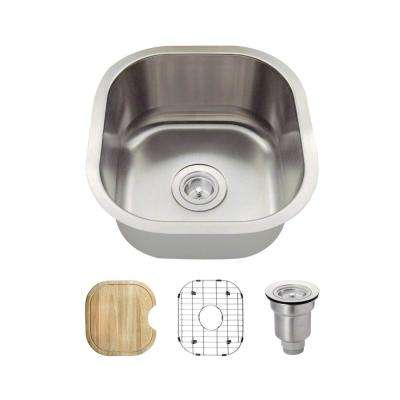 All In One Undermount Stainless Steel 16 In. Single Bowl Bar Sink