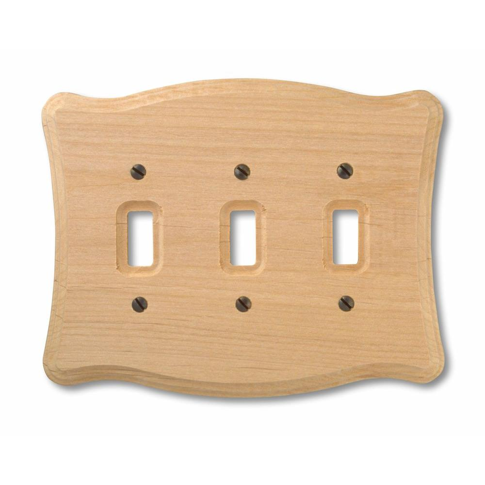 Hampton Bay 4 Toggle Wall Plate - Un-Finished Wood-180T4 - The ...