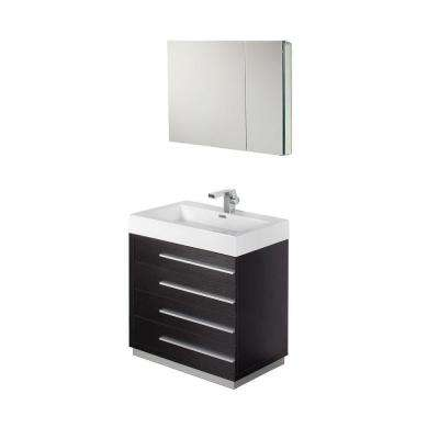 Livello 30 in. Vanity in Black with Acrylic Vanity Top in White with White Basin and Mirrored Medicine Cabinet