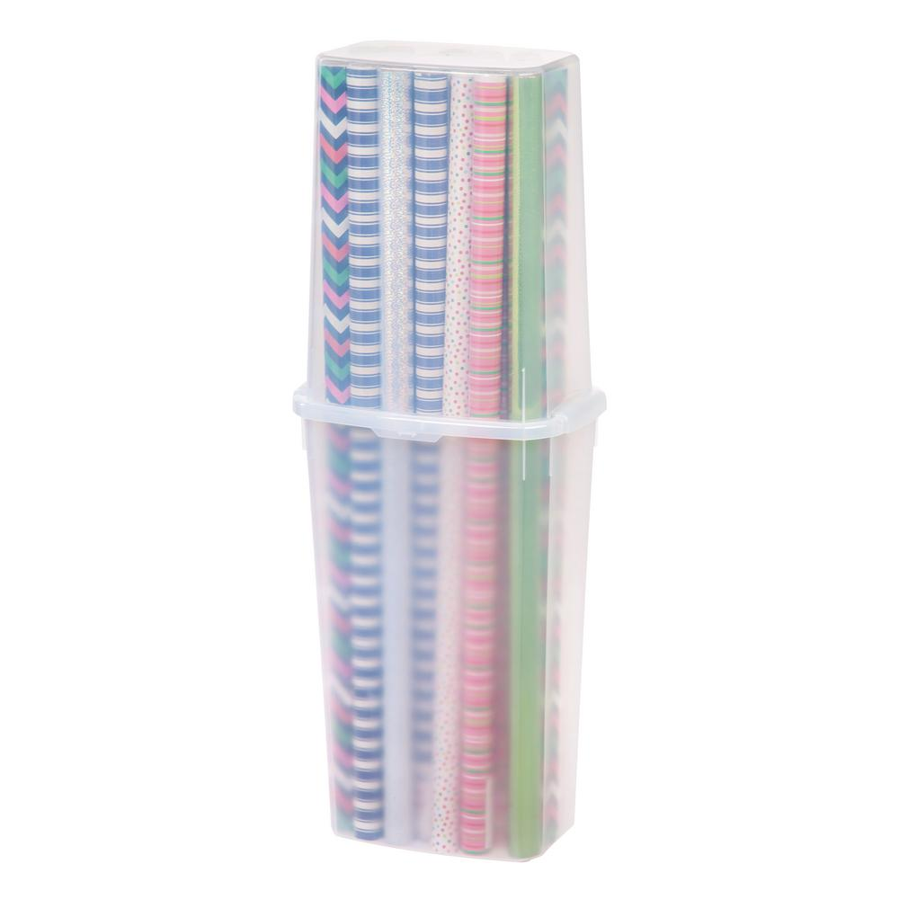 40 in. Wrapping Paper Storage Box in Clear (4-Pack)