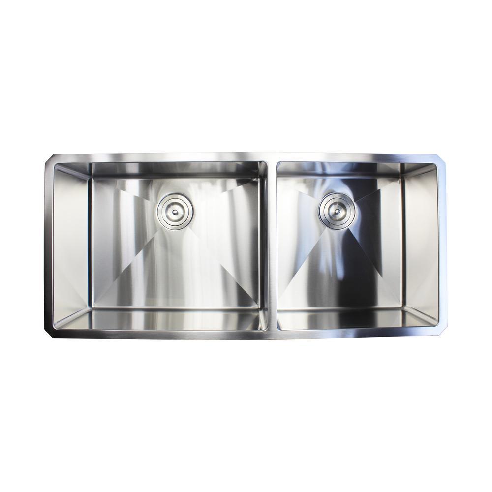 Undermount Stainless Steel 42 in. x 19 in. x 10 in. 16-Gauge 60/40 Offset Double Bowl Kitchen Sink