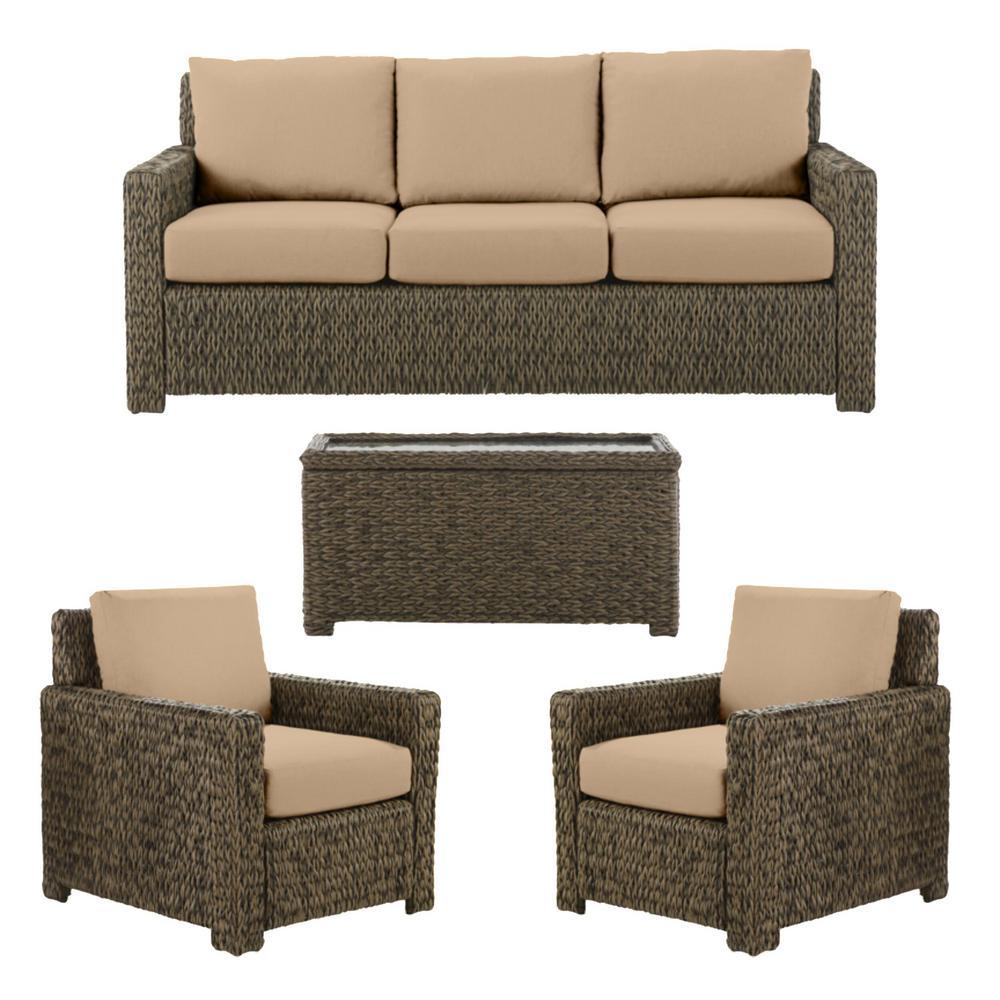 Laguna Point 4-Piece Brown Wicker Outdoor Patio Deep Seating Set with Sunbrella Beige Tan Cushions