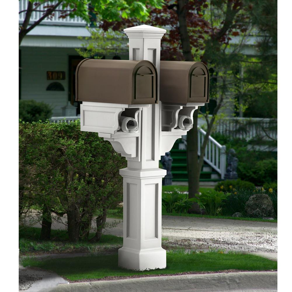 Mayne Rockport Plastic Double Mailbox Post, White