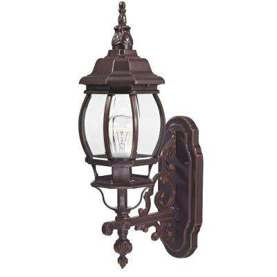 Traditional Wall-Mount 20.75 in. Outdoor Old Bronze Lantern with Clear Glass