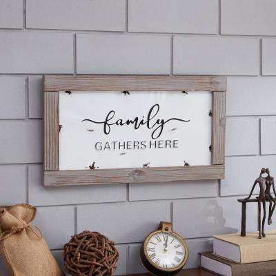 Industrial Rustic Metal Wall Art with Quote: Family Gathers Here