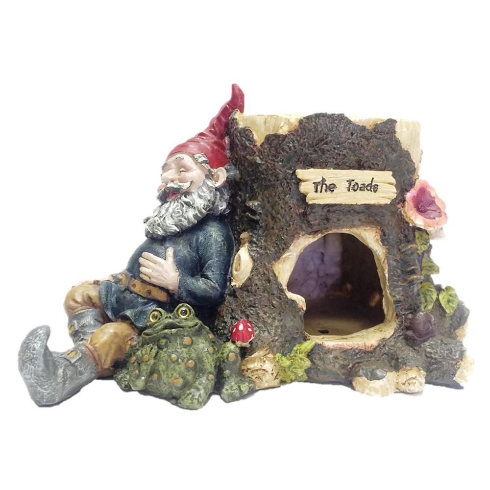 Toad House With Gnome Sleeping Against A Tree Stump With His Pet Toad 36202    The Home Depot