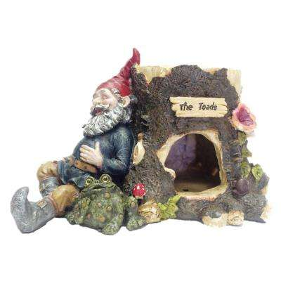 8 in. Toad House with Gnome Sleeping Against a Tree Stump with His Pet Toad