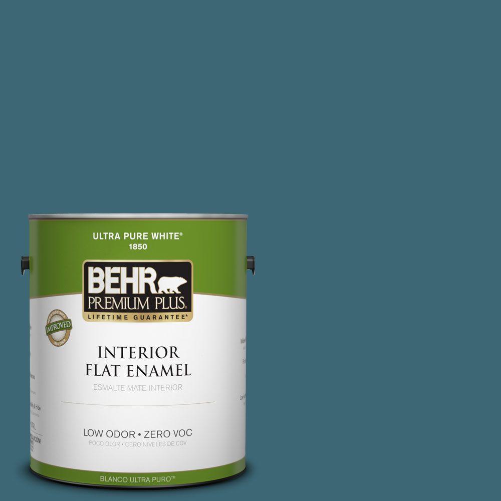 BEHR Premium Plus 1-gal. #PMD-45 Teal Mosaic Zero VOC Flat Enamel Interior Paint-DISCONTINUED