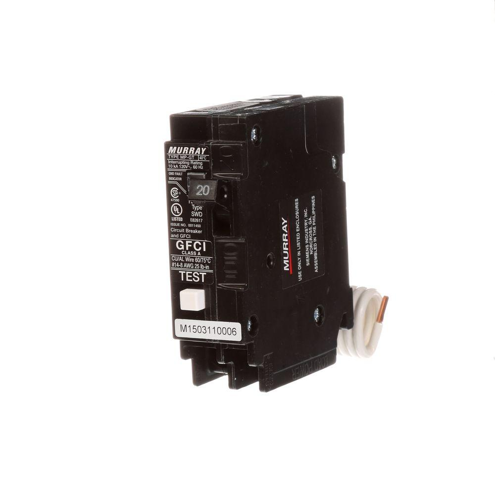 Murray 20 Amp Single Pole Type MP-GT2 GFCI Circuit Breaker
