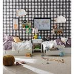 Magnolia Home by Joanna Gaines 56 sq. ft. Black and White Watercolor Check Removable Wallpaper