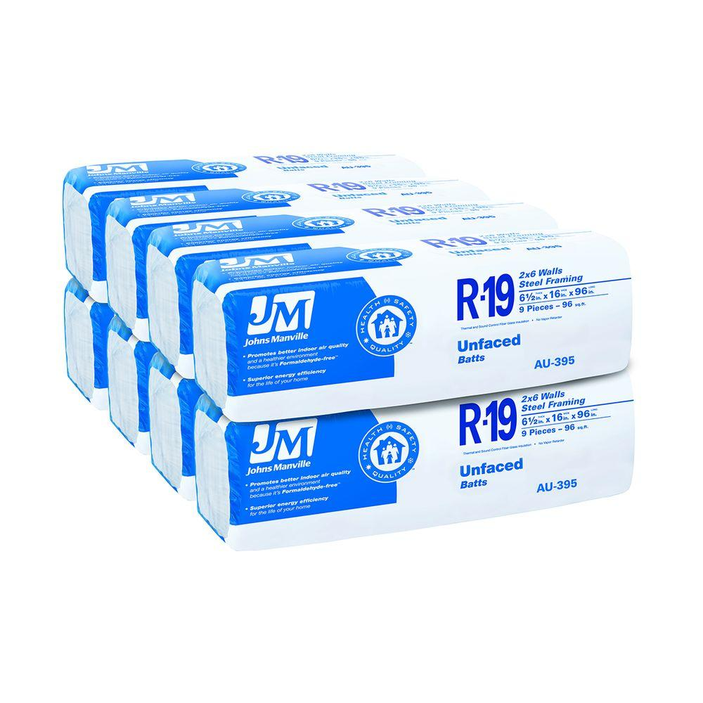Johns manville r 19 unfaced fiberglass insulation batt 16 for Sound fiberglass insulation