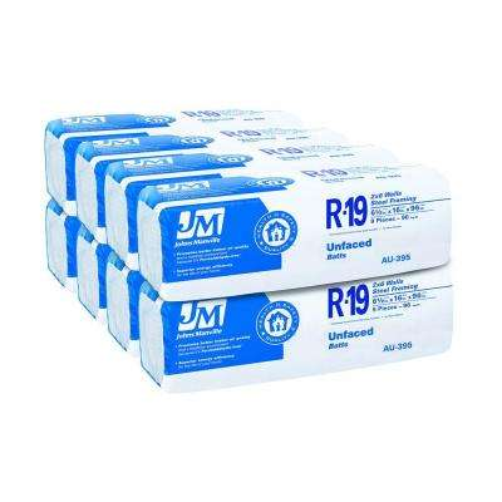 R-19 Unfaced Fiberglass Insulation Batt 16 in. x 96 in. (8-Bags)