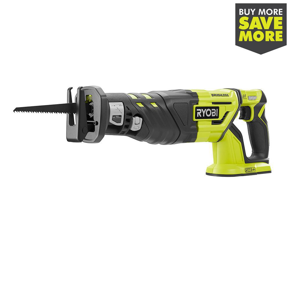 RYOBI 18-Volt ONE+ Cordless Brushless Reciprocating Saw (Tool Only) with Wood Cutting Blade