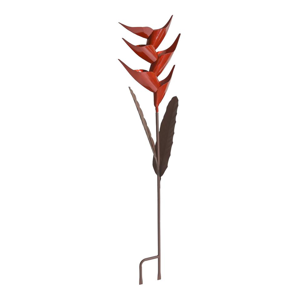 Heliconia 42 in. Steel Bird Feeder Red