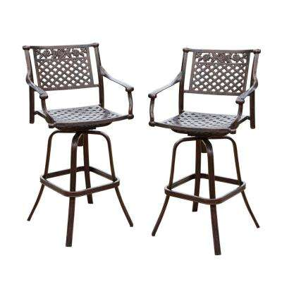Sebastian Swivel Aluminum Outdoor Bar Stool (2-Pack)