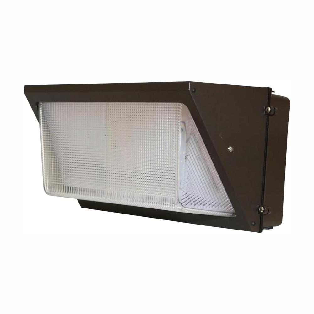 Falcon 100-Watt Bronze Outdoor Integrated LED Wall Pack Light with 4000K Dimming Integrated Photocell Surge Protector