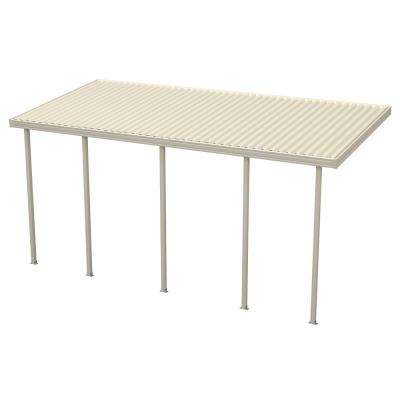22 ft. x 10 ft. Ivory Aluminum Attached Solid Patio Cover with 5 Posts (10 lbs. Live Load)