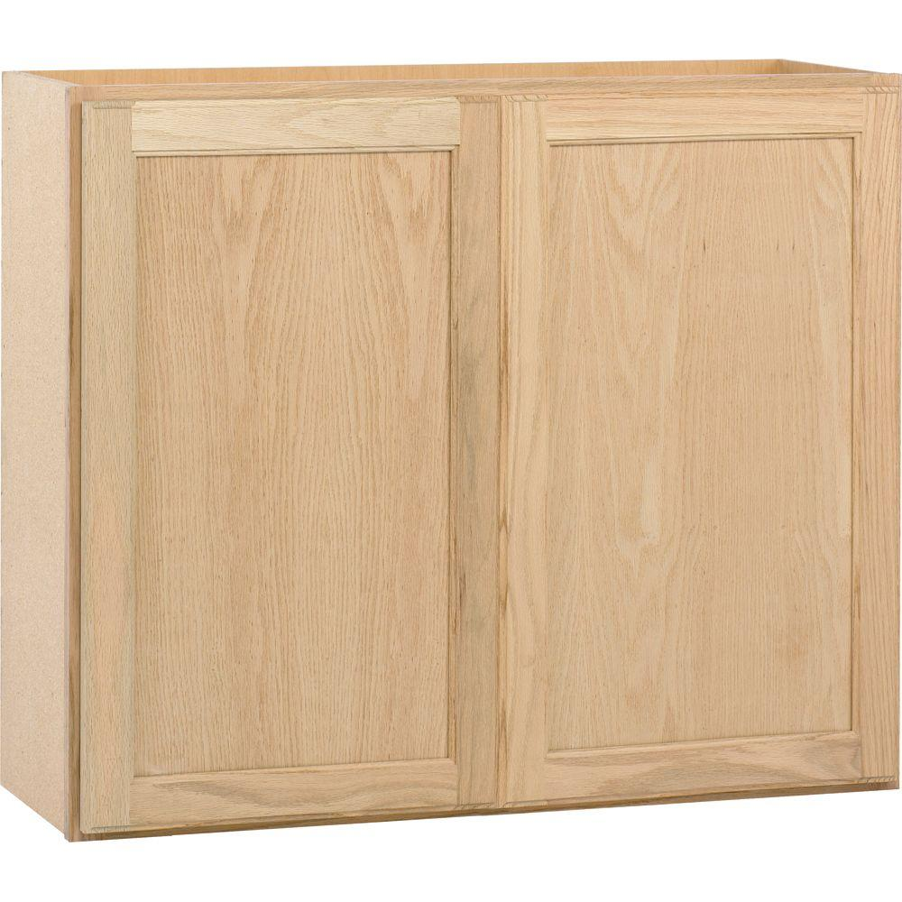 assembled 36x30x12 in. wall kitchen cabinet in unfinished oak