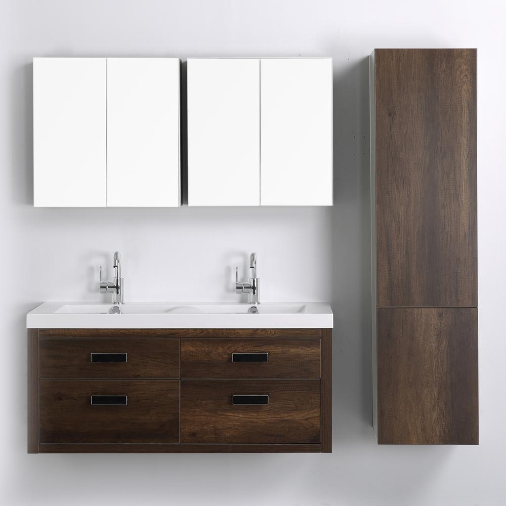 Streamline 47.2 in. W x 19.4 in. H Bath Vanity in Brown with Resin Vanity Top in White with White Basin and Mirror