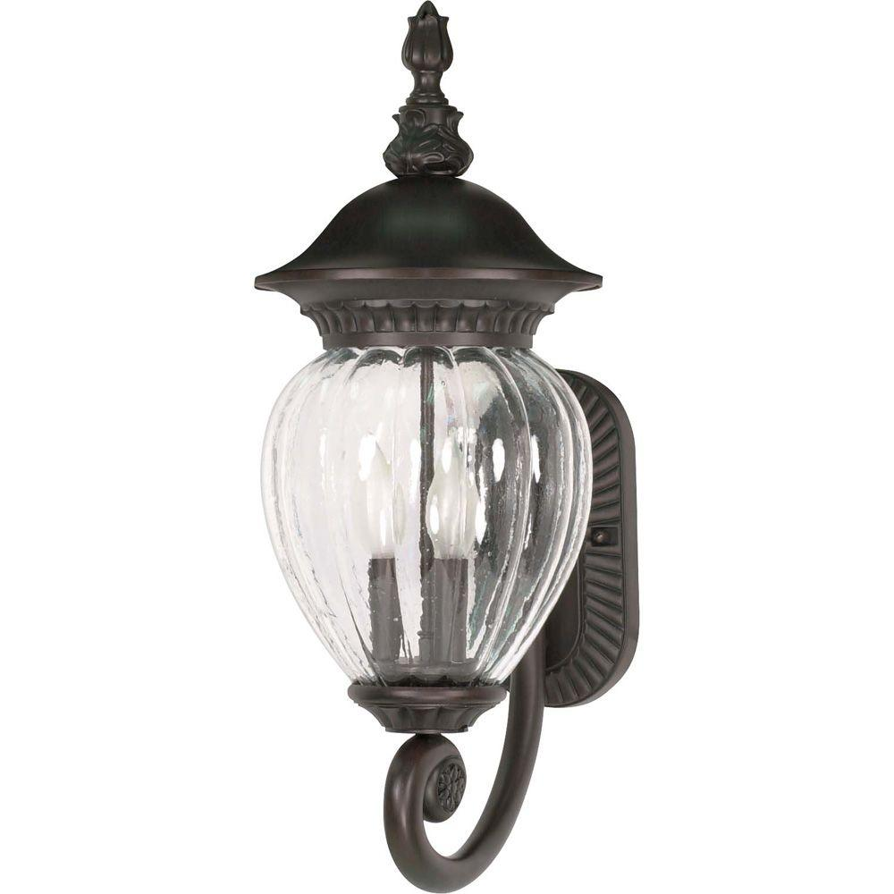 Glomar Balun 3-Light 22 in. Wall Lantern Arm Up with Clear Melon Seed Glass finished in Chestnut Bronze-DISCONTINUED