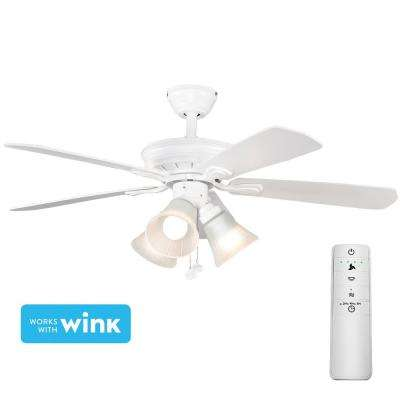 Westmount 44 in. LED Matte White Smart Ceiling Fan with Light Kit and WINK Remote Control