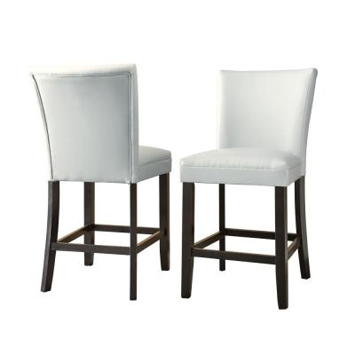 24 in. Matinee White Counter Chair (Set of 2)