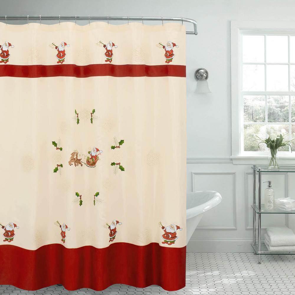 Creative Home Ideas 70 in. x 72 in. Santa Embroidered Shower Curtain ...