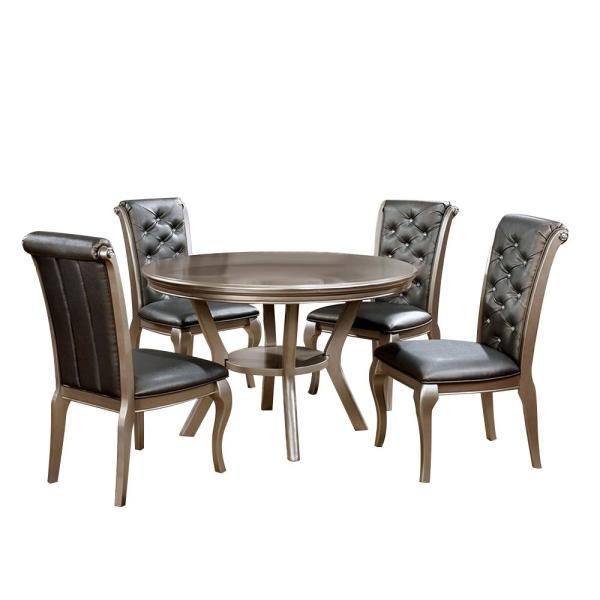 Amina 5-Piece Round Dining Table Set in Champagne Finish