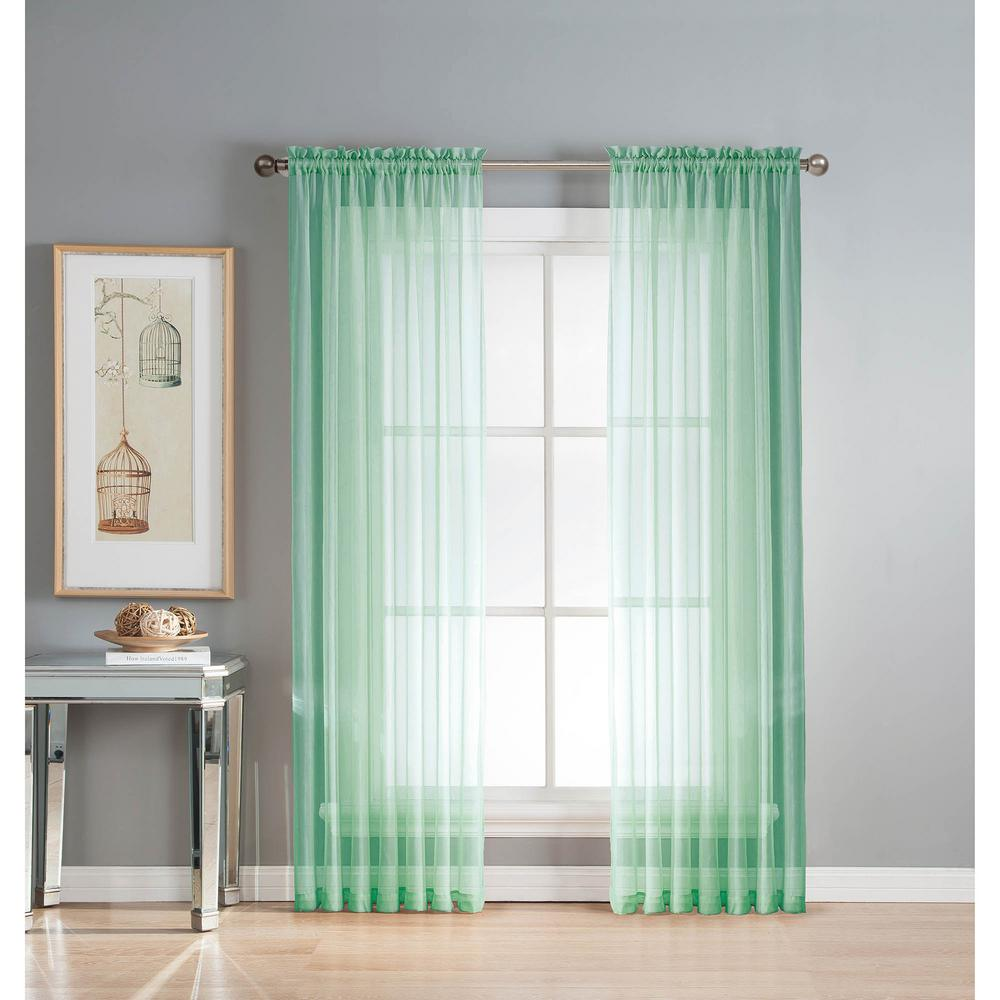 Sheer Diamond Sheer Aqua Rod Pocket Extra Wide Curtain Panel, 56 In. W X 63  In. L