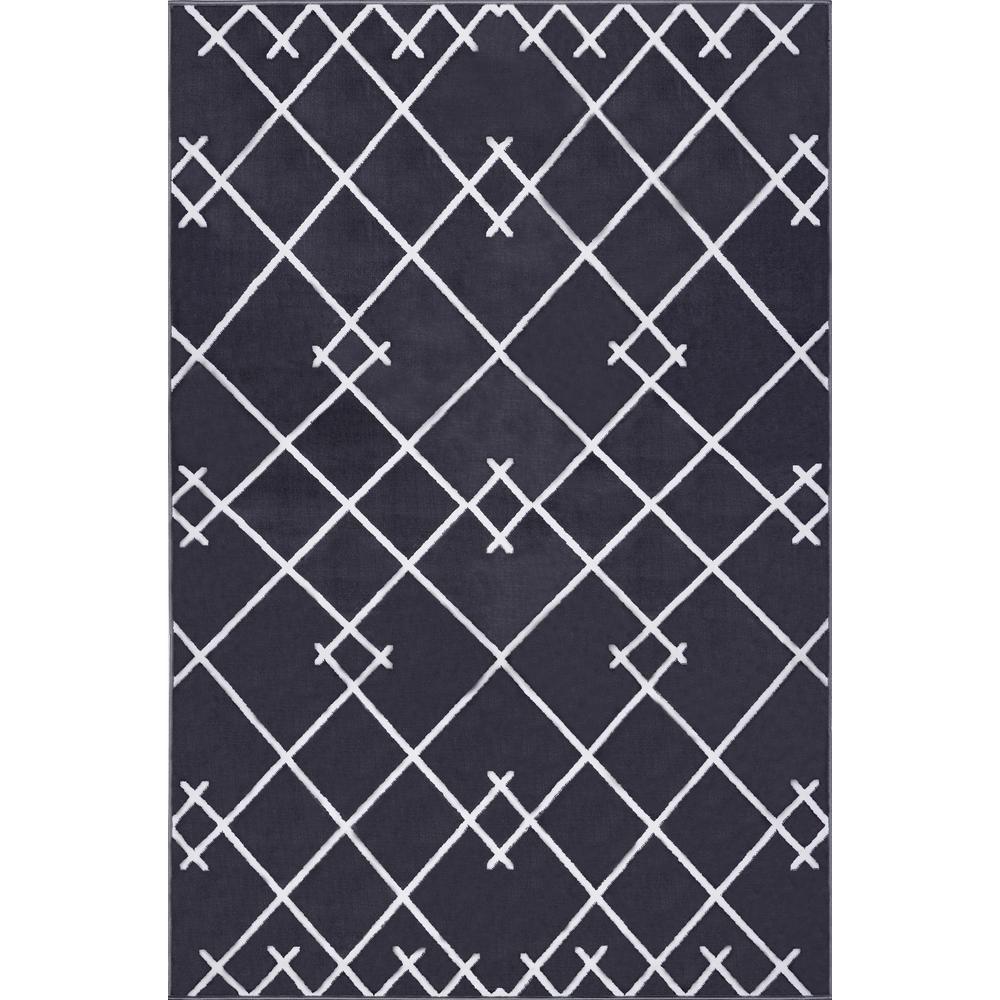 Coyer Geometric Dark Grey 5 ft. 3 in. x 7 ft. 10 in. Area Rug
