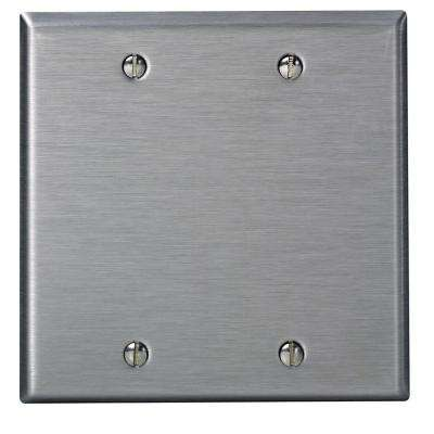 2-Gang No Device Blank Wallplate, Standard Size, 302 Stainless Steel, Box Mount, Stainless Steel