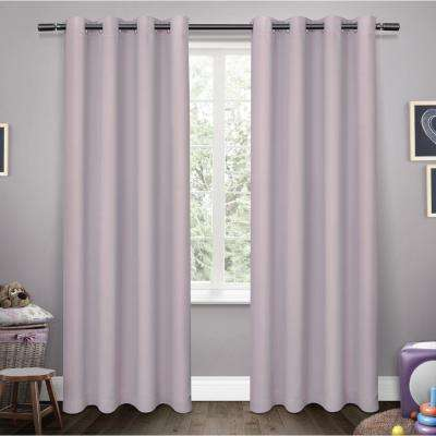 Sateen Kids 52 in. W x 96 in. L Woven Blackout Grommet Top Curtain Panel in Lilac (2 Panels)