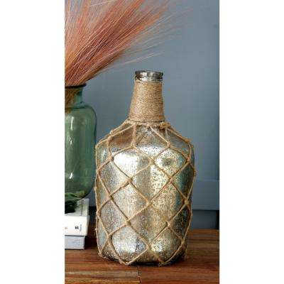 "15 in. ""Boulangerie"" Gray Glass Decorative Wine Bottle Vase"
