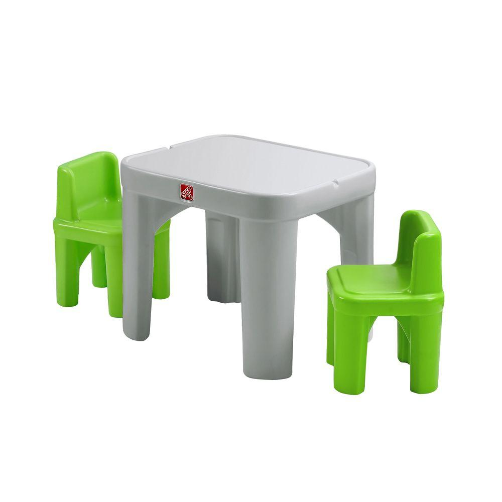 Step2 Mighty My Size 3 Piece Grey and Green Children\'s Table and ...