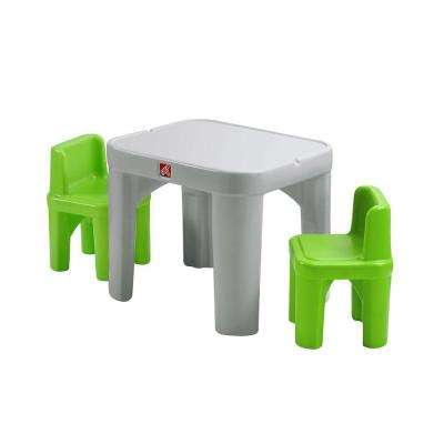 Mighty My Size 3 Piece Grey and Green Children's Table and Chair Set